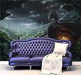 Fototapeten Drache Und Wolf Fototapete Benutzerdefinierte Große Tapete Wilden Stil Wandmalerei Kunst Raumdekor Schlafzimmer Home Dekoration-150X120Cm,Wandbilder