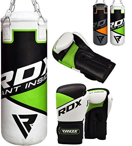 RDX Bambini Sacco da Boxe Pieno Arti Marziali MMA Sacchi Pugilato Muay Thai Kick Boxing con Guantoni Allenamento Catena Gancio Soffitto 2FT Junior Punching Bag Set
