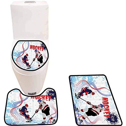 JHDF Set Tappetino da Bagno 3 Pezzi Giocatori su Pista di Pattinaggio Tappeti da Bagno Morbidi Antiscivolo per Doccia e Servizi igienici in Cucina