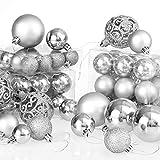 Deuba Weihnachtskugeln Silber 100 Christbaumschmuck Aufhänger Christbaumkugeln für den Weihnachtsbaum Weihnachtsbaumschmuck Weihnachtsbaumkugeln - 7
