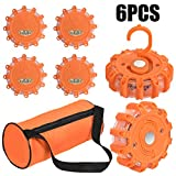 Goplus 6PCS LED Road Flares, Road Emergency Lights Safety Flashing Warning Beacon Disc with Hook and Magnetic Base, 10 Flash Modes (Batteries Not Included), for Car Truck Motorcycle Boat (6PC)