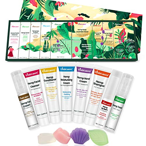 Vitablossom Hemp Beauty Gift Set-12PCS W/Eye Cream, Facial Cleanser, Toner, Moisturizing Cream, Facial Soap, Lip Balm, Hand Cream, Shampoo, Conditioner, Best Gifts for Women, Gift for Her