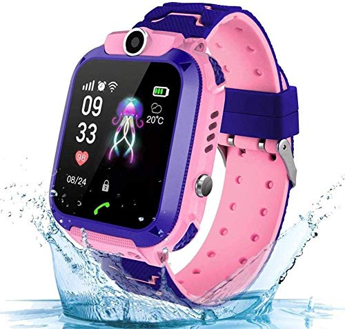 KJRJSB Kids Smart Watch Waterproof, Color Touch Screen Mobile Smart Watches for Girls Boys, Smartwatch with Camera, Game for Children Best Gift (Color : Pink)