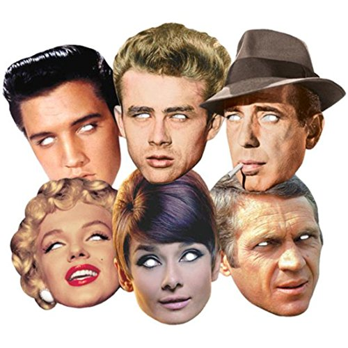 BundleZ-4-FanZ Fan Packs Hollywood Party Karte / Pappe Partei Maske Classic Packung von 6 (Audrey Hepburn, Marilyn Monroe, Elvis, Humphrey Bogart, James Dean und Steve McQueen)