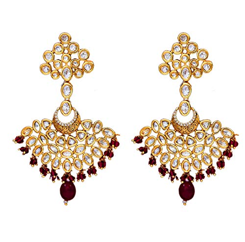 JewelryGift Traditional Dangle Drop Earrings Gold Plated Kundan Ruby Antique Design Fashion Collection Jewellery for Girlfriend Wife