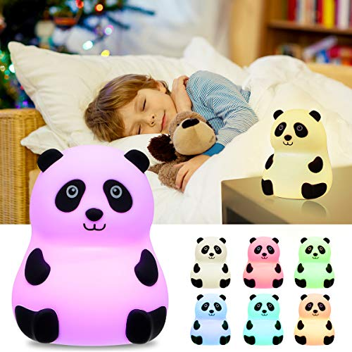 LED Nursery Night Light Elfeland Baby Night Light for Kids Cute Animal Soft Silicone Bedside Lights with Touch Sensor Rechargeable and Portable Color Changing Kids Nightlight Infant Toddler Gift