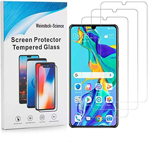 Weinstock-Science 3X Bruchsicheres Panzerglas für Huawei P30 Schutzfolie aus 9H Echt Glas (Klar)