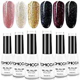 TOMICCA Kit Vernis Semi-Permanent Paillette Brillant Rouge Gel UV Couleur Peggy Sage 6 PCS Gel Lampe UV Ongles Gel Nail Polish-M