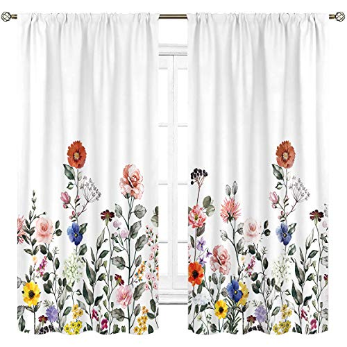 Cinbloo Colorful Flowers Curtains Rod Pocket Rustic Floral Spring Bloom Plants Botanical Girl Natural Bright Art Printed Living Room Bedroom Window Drapes Treatment Fabric 2 Panels 42 (W) x 63(L) Inch