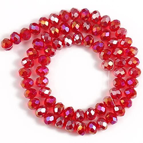 CRISTAL DE VIDRIO FACETADO RONDELLE REDONDAS REDONDAS JADES PERLAS sueltas para hacer joyería Pulsera de accesorios de bricolaje-Cristal rojo_4mm (aproximadamente 140pcs)