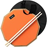 Practice Pad & Drum Sticks Bundle - Drum Pad Double Sided with Drumsticks and Drum Bag for Four Inch Snare Drum With Two Different Surfaces for Drum Practice - Silent Drum Double Sided Practice Pad