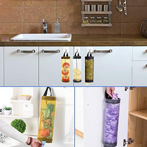 プラスチックバッグホルダー、レジ袋ストッカーAFUNTA4ピース家庭用折りたたみ式通気メッシュゴミ袋オーガナイザー、ホームとキッチン用4ピースフックハンガー-ブラック/イエロー/グレー