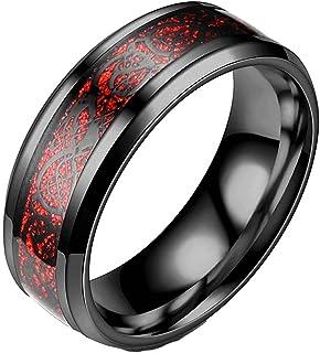 خاتم إصبع ملون للرجال من الفولاذ المقاوم للصدأ تنين سلتيك خاتم زفاف لامع بلمسة نهائية مشطوفة خواتم خطوبة
