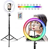 ✹[RGB Selfie Ring Light] Built in RGB colors (white/red/blue/green/purple/yellow/orange,etc.), and equipped with a remote control, a variety of colors and modes can be switched at will. ✹[Arc Soft Light] The arc lampshade has a wider lighting rang to...