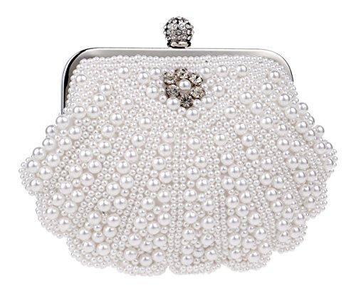 Cheerlife Damen Perle Clutch Abendtasche Hochzeit Handtasche Partei-Handtasche mit Kristall Weiß