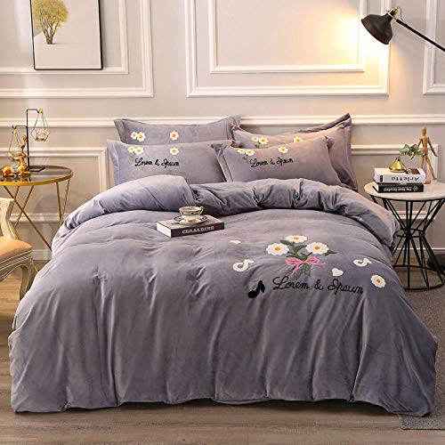 Bedspreads Four Piece Embroidery 220*240Cm Four Piece Fleece Thick Quilt Set of Four Sets, Coral Fleece/Flannel Kit, Crystal Velvet Solid Color Bed Sheets Quilt Cover Bedding Silver Gray