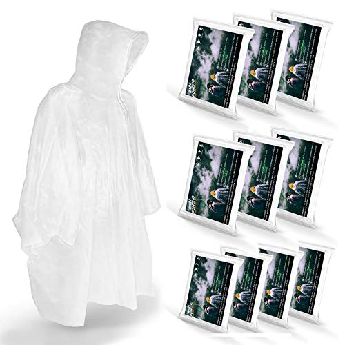Disposable Rain Ponchos for Adults (10 Pack) - Men or Women Waterproof Plastic Clear Rain Ponchos with Hood - Lightweight Universal Design - for Disney Hiking Travel Concerts