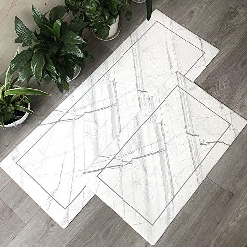 Carvapet 2 Pieces Comfort Anti-Fatigue Kitchen Standing Desk Mat Waterproof Decorative Ergonomic Floor Pad Kitchen Rug, White Marble Design 18'x47'+18'x30'