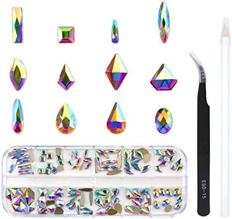 120 Pcs Multi Shapes Glass Crystal AB Rhinestones For Nail Art Craft