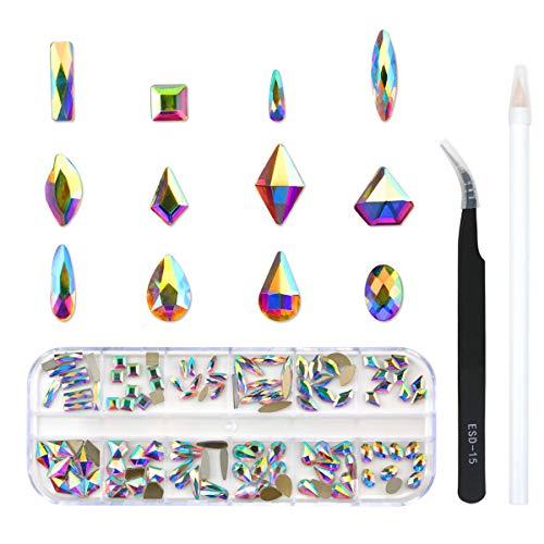 120 Pcs Multi Shapes Glass Crystal AB Rhinestones For Nail Art Craft, Mix 12 Style FlatBack Crystals 3D Decorations Flat Back Stones Gems Set (120 pcs Crystals)