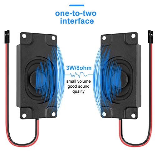 2 Stücke Arduino Lautsprecher Mini Speaker 3 Watt 8 Ohm Full Range Lautsprecher mit Separated Stecker Eins-zu-Zwei Schnittstelle 3.3V 5V