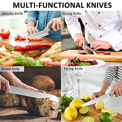 Block Knife Set 15-Piece, ANTINIVES Kitchen Knives Set Chef Knife Serrated Steak Knives Self Sharpening German High Carbon Stainless Steel Knife for Kitchen