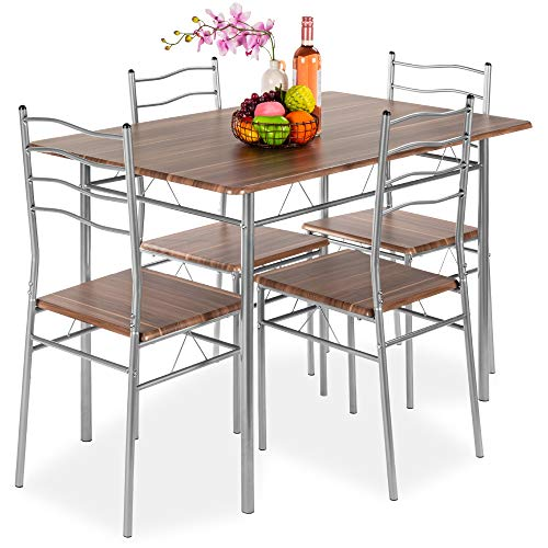 Best Choice Products 5-Piece 4ft Modern Wooden Kitchen Table Dining Set w/Metal Legs, 4 Chairs - Brown/Silver