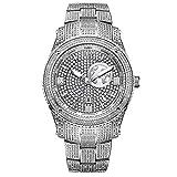 JBW Luxury Men's Jet Setter GMT J6370B 1.00 Karat Diamond Wrist Watch with Gold-Plated Stainless Steel Bracelet