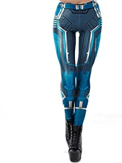 Women Party Fancy Fashion Cosplay Blue Robot Print Mid Waist Leggings