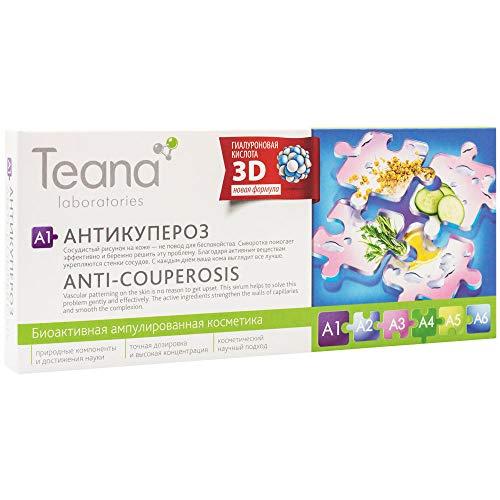 Teana Laboratories A1. Serum Gel de Ácido Hialurónico 3D Reduce el Enrojecimiento Mejora la Elasticidad Calma la Piel Cuperosis Tratamiento Natural 10x2ml