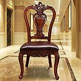 Decoración de muebles Sillas de comedor modernas Silla de comedor de arte de cuero americano Silla de madera antigua clásica tallada hueca de doble cara Juego de 2 (Color: Marrón Tamaño: 106x52x50c