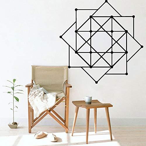 Pegatinas de pared de flores calcomanías de vinilo cuadradas geométricas decoración del hogar abstracta extraíble arte mural pegatinas de pared A1 57x57cm