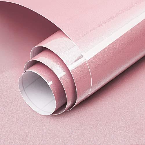 Carta Adesiva per Mobili Luccichio Rosa 60cmX3m Impermeabile Carta da Parati PVC Pellicola Adesiva...