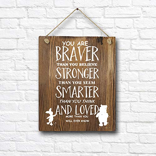 Classic Winnie The Pooh Quotes and Saying Rustic Wood Wall Art Decor- 8'x10' Wooden Hanging Art - Motivational Inspirational Classroom Office Child/Boy/Girl/Nursery Room Decor
