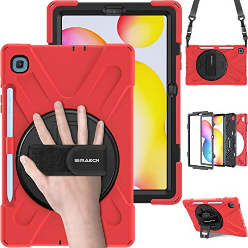 """BRAECN Galaxy Tab S6 Lite 10.4 Case, SM-P610 Case, Rugged Protective Kids Friendly Case with Kickstand, Shoulder Strap, Hand Strap, S Pen Holder for Samsung Galaxy Tab S6 Lite 10.4"""" 2020 Model-Red"""