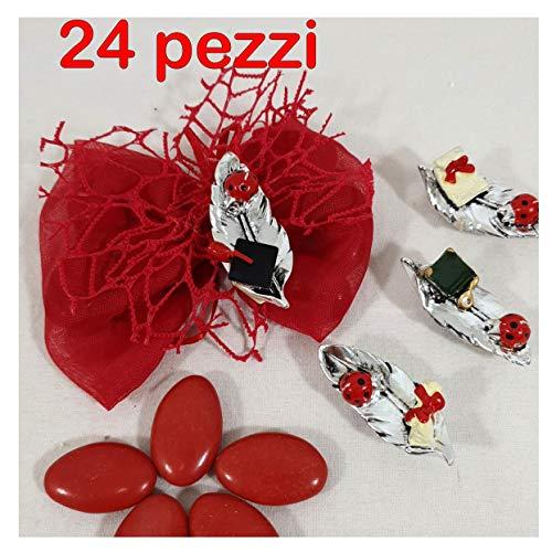 24 Sacchetti bomboniere Laurea Calamite Foglie argentate Confetti Rossi - Kit Fai da Te Completo