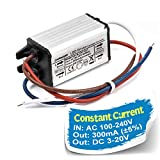 Chanzon LED Driver 300mA (Constant Current Output) 3V-20V (85-277V AC-DC) (1-6) x1W 1W 2W 3W 4W 5W 6W IP67 Waterproof High Power Supply 300 mA Lighting Transformer Drivers for COB Chips (Aluminium)