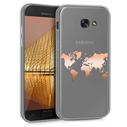 kwmobile Carcasa Compatible con Samsung Galaxy A5 (2017) - Funda de TPU Mapa del Mundo en Oro Rosa/Transparente