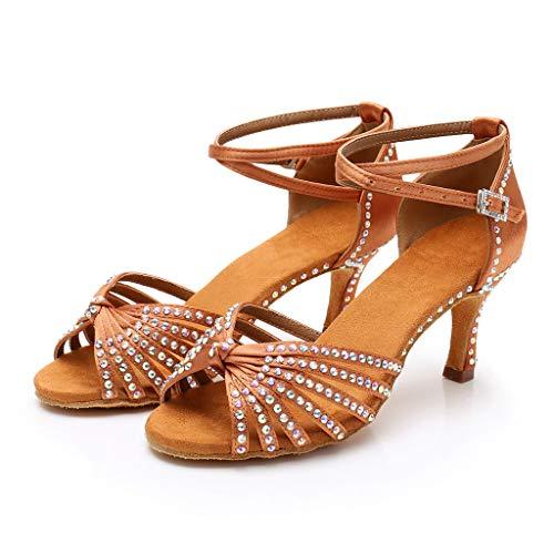 Riou Damen Tanzschuhe mit Strass Sommer Stiletto High Heels Latin Tango Tanz Sandalen für Party Hochzeit Schuhe