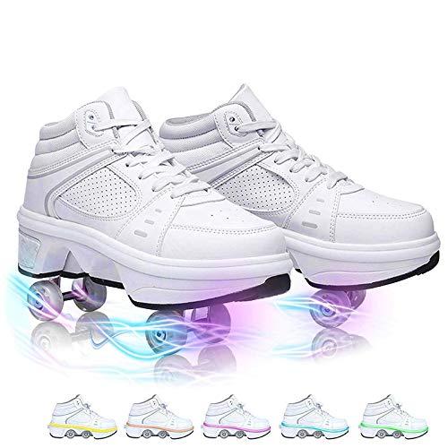 GWYX Unisex Kids Skateboarding Zapatos Zapatos para Niños con Ruedas Skate Shoes Ruedas Zapatos Zapatos Deportivos Zapatillas Deportivas Zapatillas De Deporte con Ruedas,White-33 EU