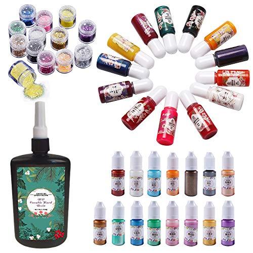 Epoxy Resin UV kit met Pigment en UV lamp kit 250g Crystal Clear Transparant epoxy met 2 Sets van Pigment (28 stuks) + 12 Glitter Pailletten + Mini UV lamp & Pincet, Sieraden maken hars ambachten kit 28 pigment + 12 glitter (no lamp)