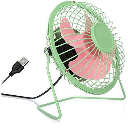 COM-FOUR® USB Tischventilator, leiser Mini-Ventilator für Büro und Schreibtisch, cooler Standventilator in sommerlich frohen Farben (grün pink)