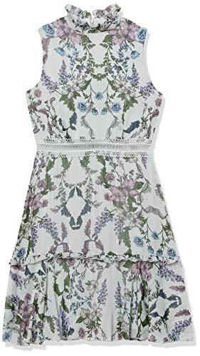 Donna Morgan Women's Sleeveless Chiffon Fit and Flare Dress, Grey/Lavender Multi, 4