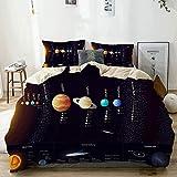 Juego de funda nórdica beige, espacio exterior Sistema solar Información científica Júpiter Saturno Universo Telescopio Estampado decorativo Juego de ropa de cama de 3 piezas con 2 fundas de almohada