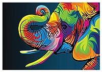 大人のための数字で塗る子供たち初見キットDIYキャンバス油絵アクリルブラシクリスマスハロウィーンルーム壁の装飾フレームレス - カラー象 (Size : 30x40cm)