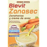 Blevit Zanasec 300grs, dieta astringente. Papilla elaborada a partir de crema de arroz, zanahorias y bifidobacterias y lactobacilos.