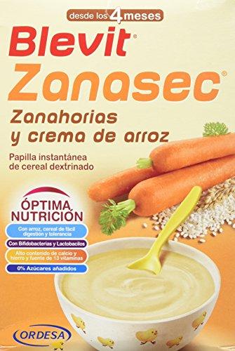 Blevit Zanasec, 1 unidad 300 gr, dieta astringente. Papilla para bebés elaborada a partir de crema de arroz, zanahorias y bifidobacterias y lactobacilos