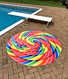 Rainbow Lollipop Traditional Round Blanket 68' Diameter - Supersoft Microfiber Flannel - 100% Polyester