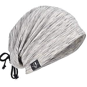 メンズニット帽 ニット帽子 ワッチキャップ 夏 ふわふわ バンダナキャップ サマーニット帽 薄手 B081 (ライトグレー*ホワイト(紐付)) …