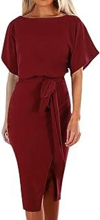 EnjoCho S-XL Womens Summer Short Sleeve Wrap Dress Ladies Plain Tie Wasit Slim Midi Dresses (Size:L, Wine)